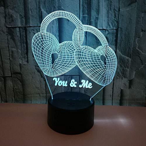 HmDco nachtlampje, optisch illusie, 3D led-liefdesblokkering, 7 kleuren, wijzigen Zwarte basis + aanraken + afstandsbediening.