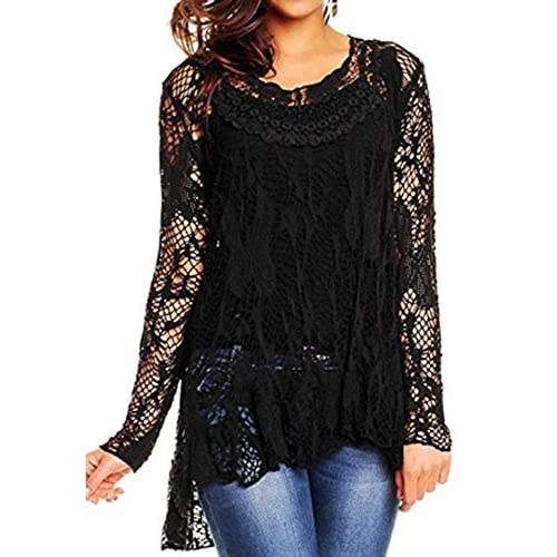 bb8f8b1790 Black Lace Tops: Amazon.co.uk
