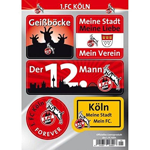 1. FC Köln Autoaufkleber - Sticker - Aufkleber Set 5 Stück Hennes
