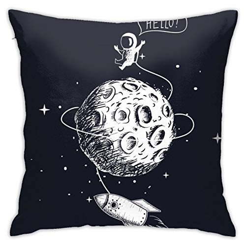 niBBuns Throw Pillow Case,Astronaut Spaceship Moon Planet Spacecraft,Square Cushion Cover for Sofa Couch Bedroom Living Room Dorm Decoration 18 x 18 Inch