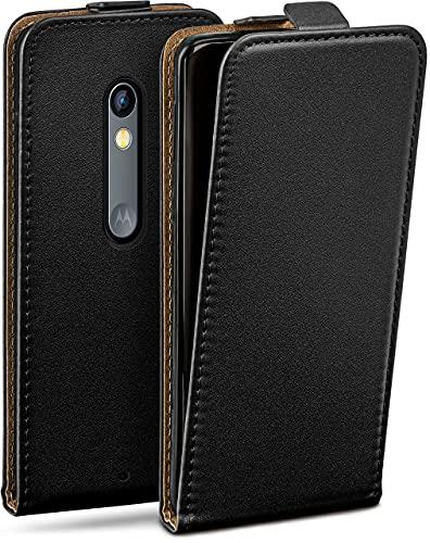 moex Flip Hülle für Motorola Moto X Play - Hülle klappbar, 360 Grad Klapphülle aus Vegan Leder, Handytasche mit vertikaler Klappe, magnetisch - Schwarz