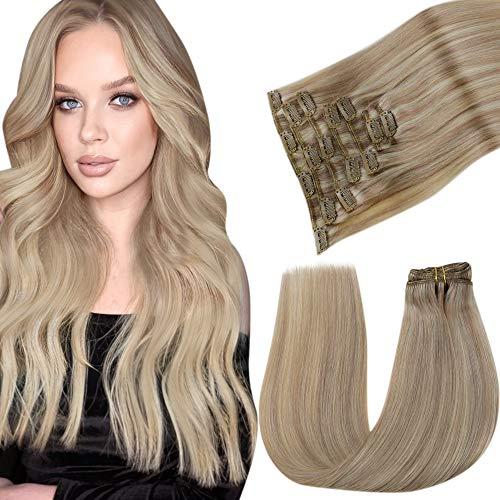 LaaVoo Clip Extensions Echthaar Blond Haareverlangerungen Echte Haare Clip Tressen 100g 7PCS Aschblond Highlight Gebleichtes Blond Haarextension Echthaar Clips Blond Doppelt Tressen Remy Clip in 45cm