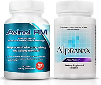 Avinol PM Bundle with Alpranax - Natural Sleep Aid with Melatonin and 5-HTP + Herbal Relaxation and Stress Relief Supplement - Reduce Stress and Get Deep Restful Sleep -  2 Items