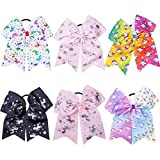 RSKY 7' Girls Colorful Unicorn Cheer Bows Hair Bows Elastic Tie Ponytail Holder