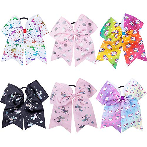 7' Big Unicorn Hair Bows for Girls Large Rainbow Cheer Bow For Kids Cute Little Girl Hair Accessories For Girls Colorful Unicorn Cheer Bows Hair Bows Elastic Tie Ponytail Holder Unicorns Party