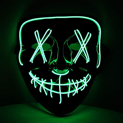Máscara LED verde con 3 efectos de luz,...