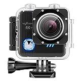 NEXGADGET 4K WiFi Action Kamera, 16MP wasserdichte Sportkamera Actioncam Helmkamera mit 2 Stück...