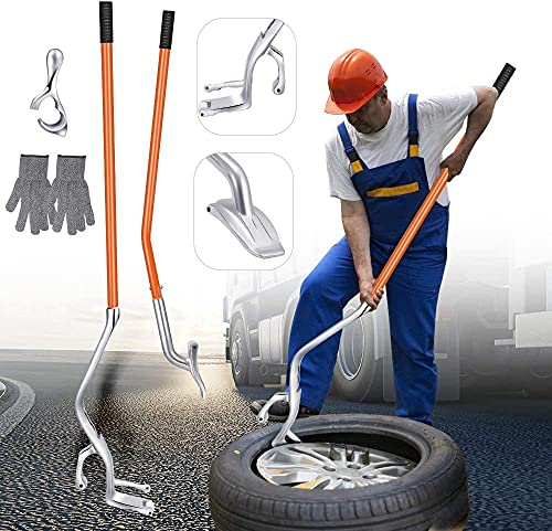 InLoveArts Desmontadores de Neumático Kits, Herramienta de Desmontado Manual de Neumáticos 44,5 a 60,9 cm Herramienta de Sujeción del Cambiador de Llantas de Metal con guantes resistentes (naranja)