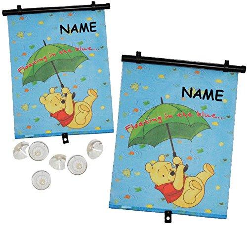 alles-meine.de GmbH 2 Stück: Winnie The Pooh / Sonnenschutz - Rollo - incl. Name - Seitenscheibe / Sonnenblende Kinder - Sonnenrollo Fensterschutz Rollos - für Fenster und Auto -..