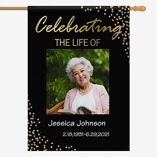 Custom House Flag with Photo, Funeral Sign Celebration of Life Black Gold Dot Personalized Name Date Welcome Garden Flag Yard Flag Banner for Home Outside Lawn 28x40 for Memorial Seasonal Spring