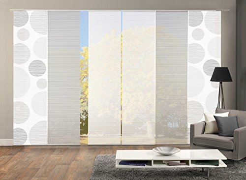Vision S 96553 | 6er-Set Schiebegardinen Borden | halb-transparenter Stoff in Bambus-Optik | 6X 260x60 cm | Farbe: (grau)