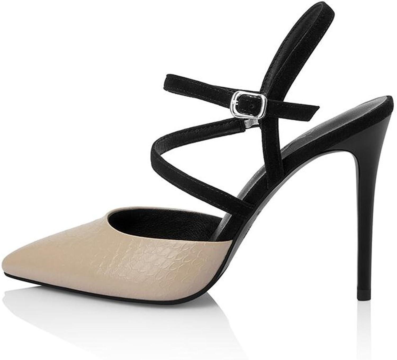 CJC High-Heeled Sandals Baotou High Heels Thin High Heels Sexy Fashion Elegant (color   Apricot, Size   EU36 UK4)