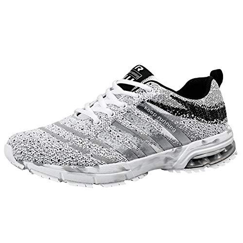 Wealsex Laufschuhe Turnschuhe Straßenlaufschuhe Sneaker Mit Damen Herren Sportschuhe Laufen auf Asphalt (47 EU, Tarnung Weiß)