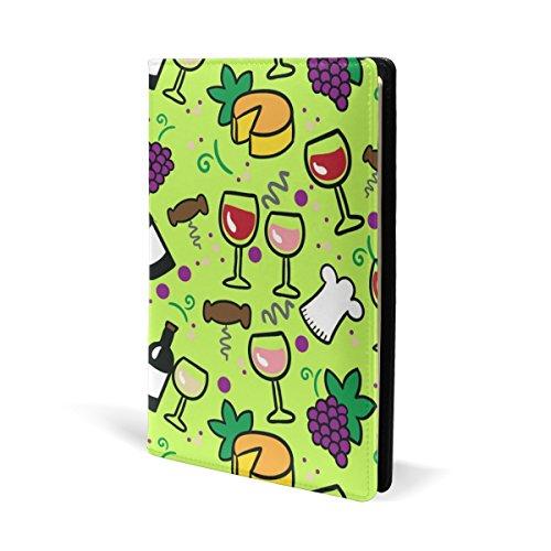 COOSUN Wijn en Kaas Patroon Lederen Boek Cover Boek Sox Fit Meest Hardcover Handboeken 5.8