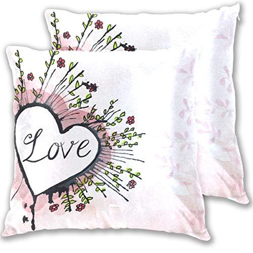 SAIAOS Fundas de Cojín Paquete de 2 Corazón Artístico Amor Colorful Textura Papel Tarjeta Romance Moderno,Decorativa Impreso Caso de Almohada Cuadrado Fundas de Almohada para Sofá Coche Cama 45x45cm