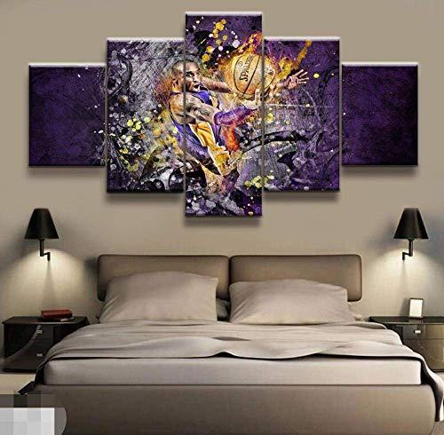Stampe su Tela 5 Pannelli NBA Kobe Bryant Basketball Poster Canvas Stampato Pittura Soggiorno Wall Art Decor HD Opere d'Arte PosterSize1