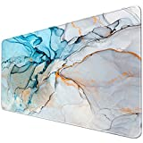 iLeadon Extended Gaming Mouse Pad with Stitched Edges, Large Mousepad 31.5 x 15.7in, Keyboard Mouse Mat with Non-Slip Rubber Base, Water-Resistant Desk Pad for Laptop, Computer & PC, Marble Artwork