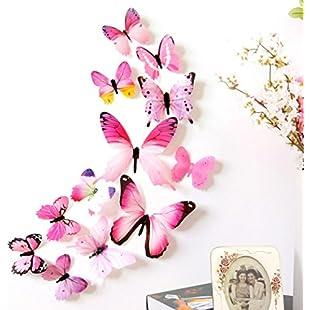 Masrin 12pcs PVC 3D Butterfly Wall Decor Cute Butterflies Wall Stickers Art Decals Home Decoration (Pink)