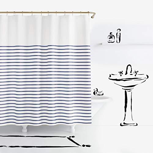 Kate Spade New York Harbour Stripe Shower Curtain Navy Duschvorhang, Baumwolle, 72