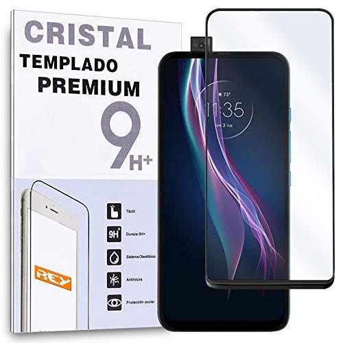 REY Protector de Pantalla Curvo para Motorola One Fusion Plus, Negro, Cristal...
