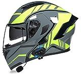 Doble Visera Casco Moto Modular,Profesional Anti Niebla Protección UV Casco Protector de Color Motocross Clásico Mujer Hombre Adultos Certificación Dot/ECE Casco H,L
