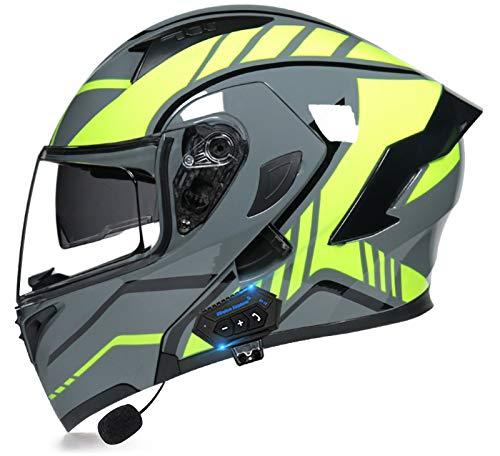 YLXD Integralhelme Klapphelme mit Bluetooth,Bluetooth Motorradhelm Herren,ECE-geprüft,mit Anti-Fog-Doppelspiegel für den täglichen Pendelverkehr C,XL