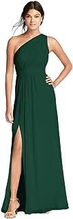 David's Bridal Long Chiffon Bridesmaid Dress with Asymmetric Neckline Style F18055