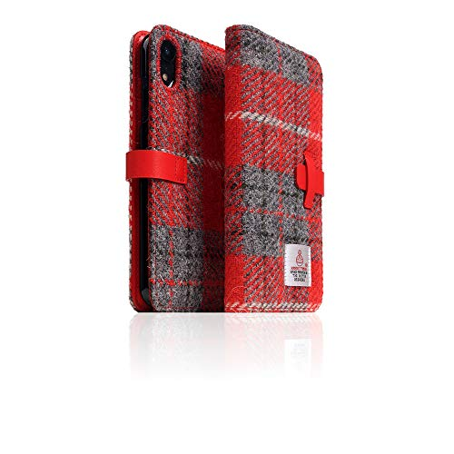 [SLG DESIGN] D5 Special Edition X Harris Tweed for iPhone XR I 100% Tweed Wool Fabric Flip Folio Book Case Wallet Cover with Feature Card Slots Compatible with iPhone XR (Gray/Red)
