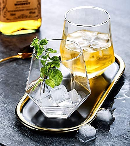 CPENSUS Old Fashioned Glass Set of 6 for Water Premium Geometric Design for Juice Wine Whiskey Cocktail Beer, 310 ML(Clear)