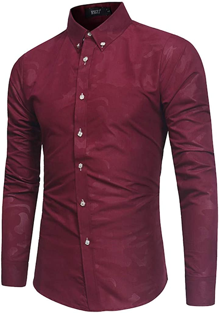 MODOQO Men's Fashion Regular Fit Collar Solid Long Sleeve Button Down Dress Shirt