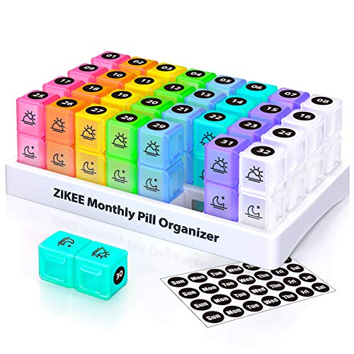 ZIKEE 30 Day Pill Organizer Monthly Portable One Month Pill Box Cases with 32 Twice a Day AM PM Compartments for Vitamins Fish Oil Supplements and Medications