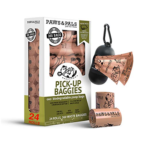 Paws & Pals Dog Poop Bag - Eco-Friendly, Large & Leak-Proof w/ Dispenser Holder & Leash Clip - Best for Walking Dogs Pet Waste - 360 Pack, 24 Roll Refills x 15 Bags - Heavy Duty, Unscented, Beige