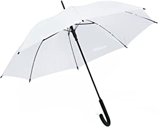 """eBuyGB 40"""" Colourful Luxury Automatic Windproof Stick Umbrella – Strong Durable Classic Black Rubber Crook Handle Walking Rain"""