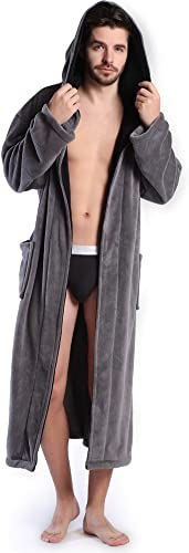 Sayhi Men Fit Waffle Terry Lounge Comfy Autumn Solid Bath-Robe Robes