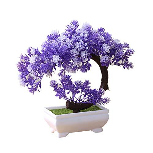 heaven2017 Simulation Fake Potted Bonsai Tree Artificial Plant Desk Ornament Home Decor Purple