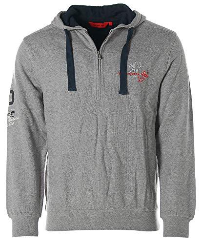 Signum Herren Sweatshirt Pullover mit Kapuze Polo Grau M