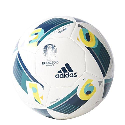 adidas Herren Ball EURO 2016 Glider, White/Eqt Green/Mineral, 5