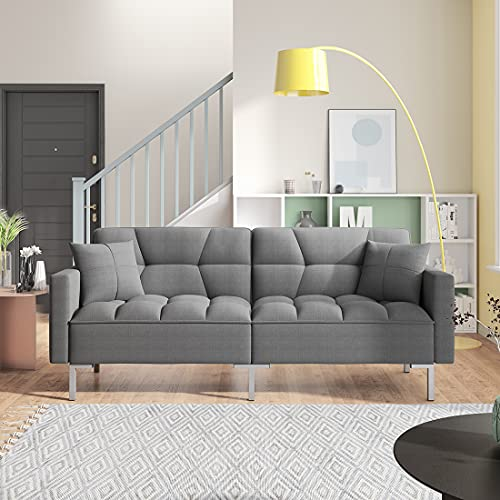 Convertible Futon Sofa Bed with Two Pillows, Modern Upholstered Sleeper Sofa Couch with 3 Adjustable Backrests and 6 Solid Metal Legs, Twin Size Loveseat Recliner for Living Room (Deep Grey)