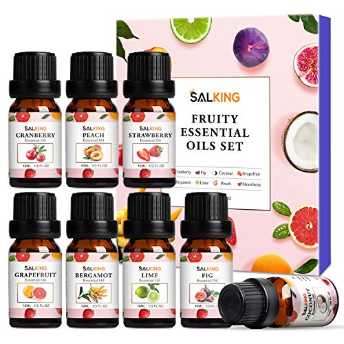 Fruity Essential Oils Set 8x10ml, SALKING Pure Essential Oils Gift Set for Diffusers, Humidfiers, Massage - Coconut, Cranberry, Grapefruit, Strawberry, Peach, Bergamot, Lime, Fig Essential Oil