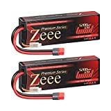 Zeee Premium Series 2S Lipo Battery 5200mAh 7.4V 120C Hard Case Batteries with Deans Plug for 1/8 1/10 RC Vehicles Car Trucks Airplane Boats(2 Pack)