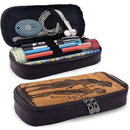 Oude Fresque leren etui voor pennen met ritssluiting voor pennen en school grote capaciteit schrijfwaren box voor meisjes jongens en volwassenen