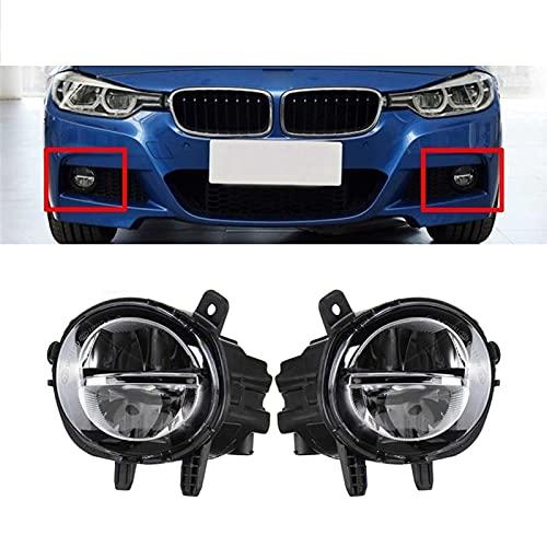 Mrfmh Un par de Autos Frontales antiniebla luz antiniebla lámpara drl lámpara de conducción/Ajuste para BMW f20 f22 f30 f35 lci w bulds 63177248911 63177248912 (Color : Black)