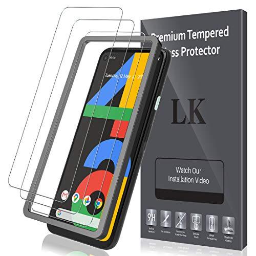 LK Panzerglas Schutzfolie für Google Pixel 4a, 3 Stück, 9H Härte Panzerglasfolie, HD Klar Displayschutzfolie, [Anti-Kratzen] [Blasenfrei] [2.5D Rand] [Einfacher Montage]