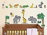 GRAZDesign Wandtattoo Dschungel Tiere Safari, Kinderzimmer