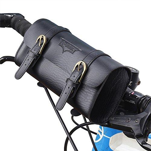 Wuxingqing-Sport Handlebar Tassen Lederen Fietstas/Mountainbike Stuurtas, Retro Mode Uitbreiding Tas kan worden gebruikt als Rugzak Professionele Fietsen Accessoires