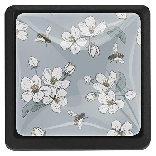 Vierkante ladeknoppen, 3 pakjes 37mm Trekhandvatten met witte bloem en bijen, gebruikt voor slaapkamer dressoir kast keuken Modern design 37x25x17mm/1.45x0.98x0.66in Witte Bloem En Bijen