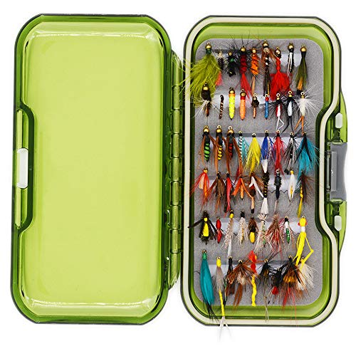 Flyafish Vintage Wet and Dry Fly Fishing Lure Stream Trout Fishing (54 Flies and a Box)