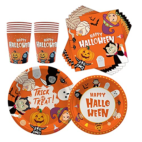 Halloween Party Disposable Tableware Serve 16 Paper Plates Napkins Cups Perfect Halloween Party Supplies Scary Table Decoration Disposable Paper Plates Pack for Spooky Themed Parties