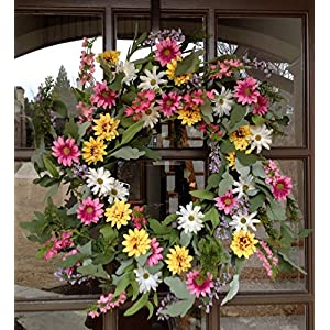 Wild Flower Fields Wreath 24″- Handcrafted on a Grapevine Base with Pink, White and Yellow Designer Silk Flowers. This Wreath Makes a Great Spring Wreath and can be Used into Summer and Easter.