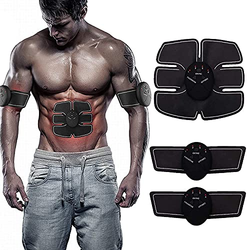 AUELEK EMS Muscle Stimolatore per addominali, elettrico, strumento di allenamento EMS per stimolare i muscoli con 6 modalità 9 intensità, ricaricabile tramite USB, per addome, braccia, gambe